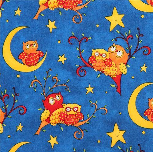 blue night owl children fabric Rhyme Time
