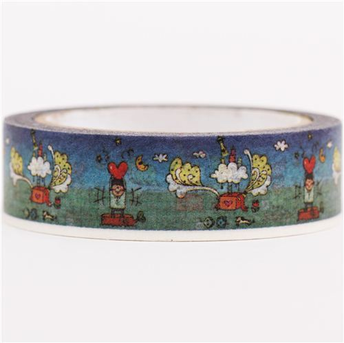 blue night sky moon hearts Washi Masking Tape deco tape
