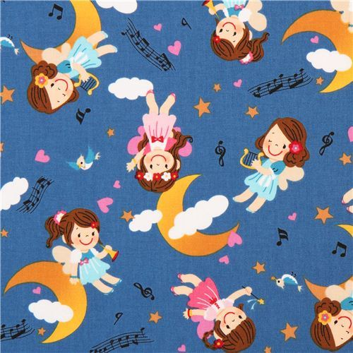 cute blue girl fairy music fairy tale fabric by Kokka from Japan