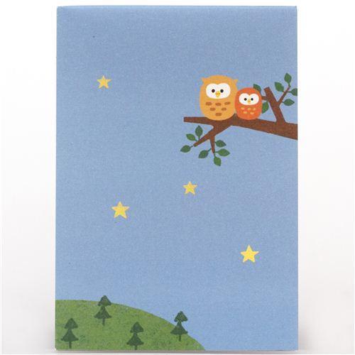cute blue owl star night mini Note Pad from Japan