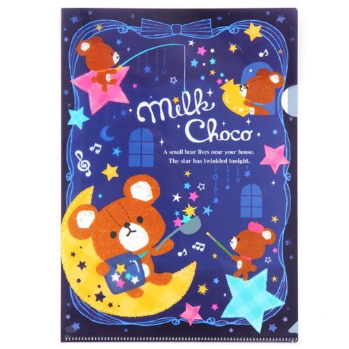 cute dark blue star magic teddy bear A4 plastic file folder