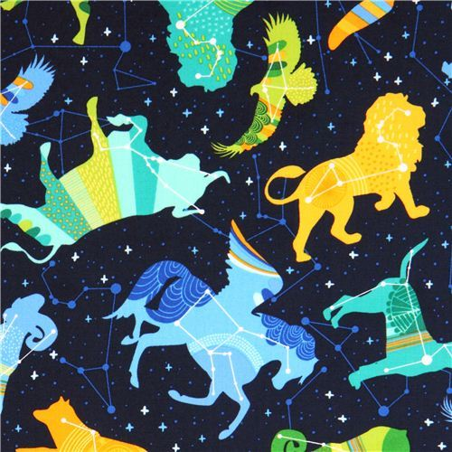 dark blue star constellation zodiac fabric Night Sky Robert Kaufman USA