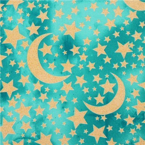 turquoise-sea green Moon and Stars glitter fabric Michael Miller USA