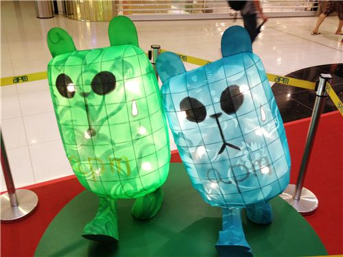 Mini Panda-a-Pandas in bright green and blue