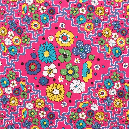 hot pink colorful cute flower oxford fabric by Kokka