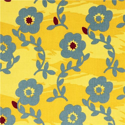 mustard yellow Kokka grey-green flower fabric