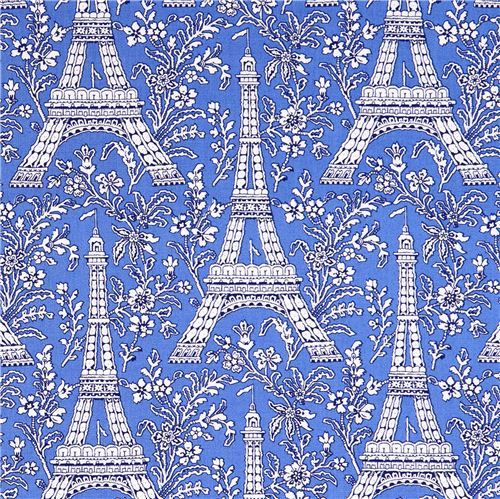 blue Paris Eiffel Tower flower fabric Michael Miller Petite Paris