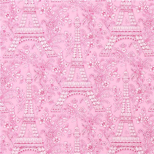 rose Paris Eiffel Tower flower fabric Michael Miller Petite Paris