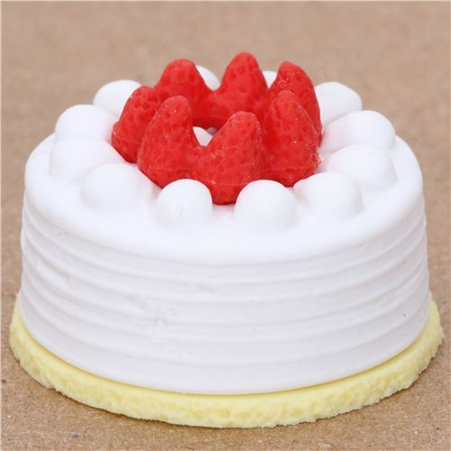 white strawberry cake eraser from Japan by Iwako