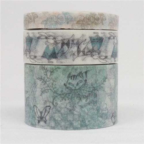 Alice in Wonderland rabbit Washi Masking Tape deco tape set 3pcs Shinzi Katoh