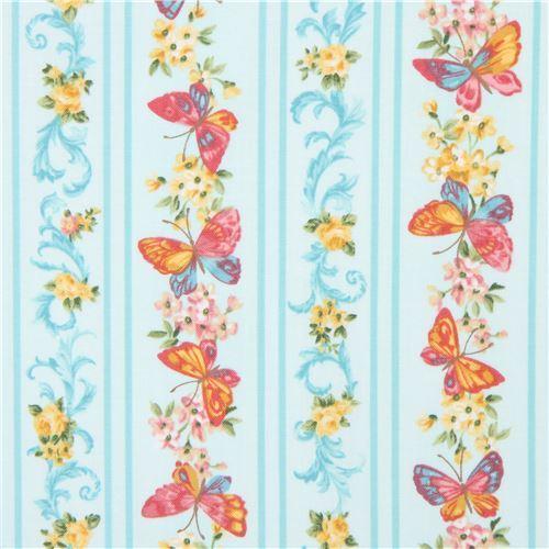 light turquoise Robert Kaufman fabric stripe butterfly flower Lady Elizabeth