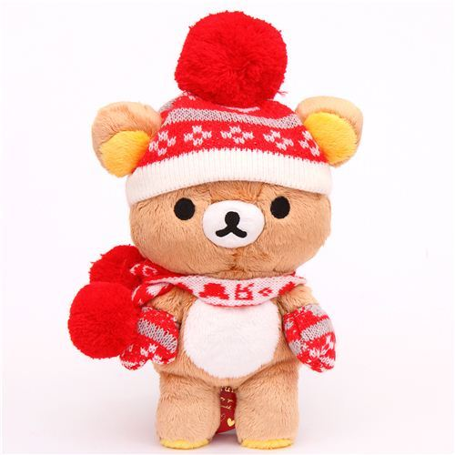 Rilakkuma winter knit brown bear plush toy San-X Japan
