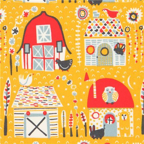 marigold yellow with farmhouse animal organic poplin fabric from the USA