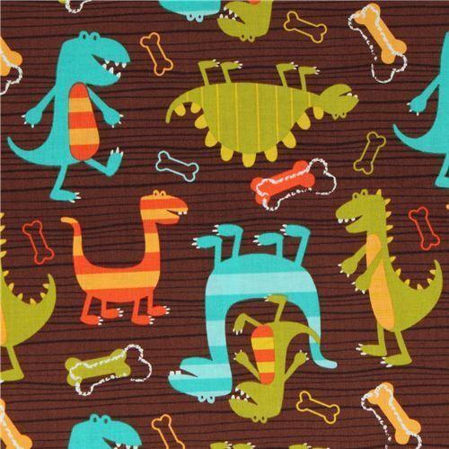 Dino Dudes PUL Polyurethane laminate fabric Michael Miller
