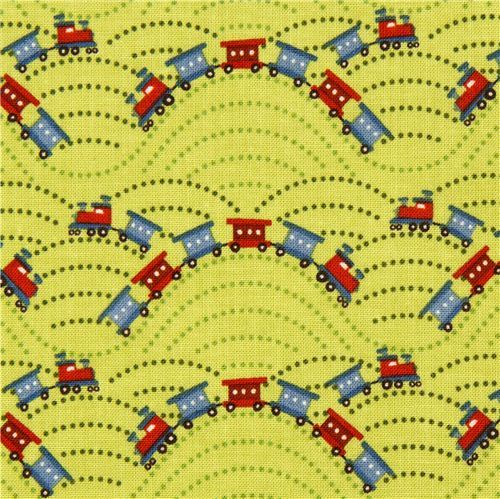 green Riley Blake laminate fabric with train locomotive USA