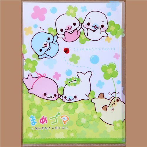 Mamegoma A4 plastic file folder San-X cloverleaves
