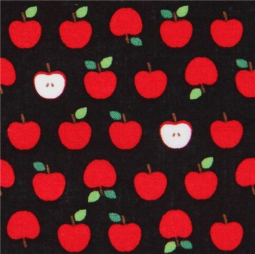 black Robert Kaufman small red apple fruit fabric Sevenberry Mini Prints