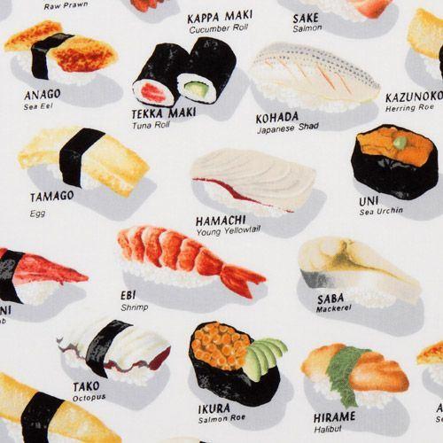 funny white sushi fabric Robert Kaufman