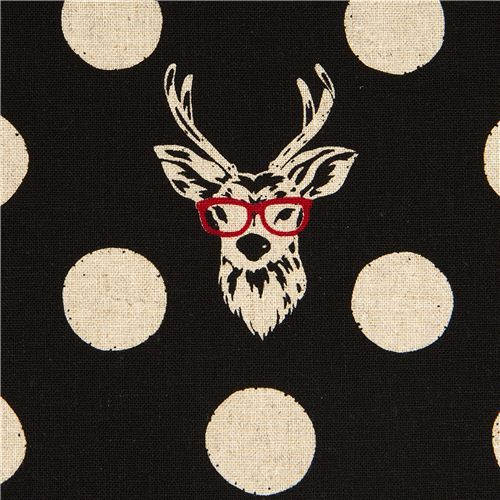 echino canvas fabric Buck stag with glasses black