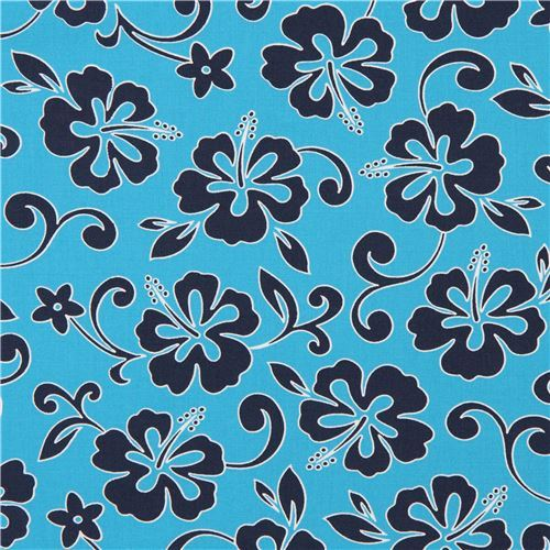 blue Robert Kaufman cute navy blue flower fabric Paradise Pareaus 3