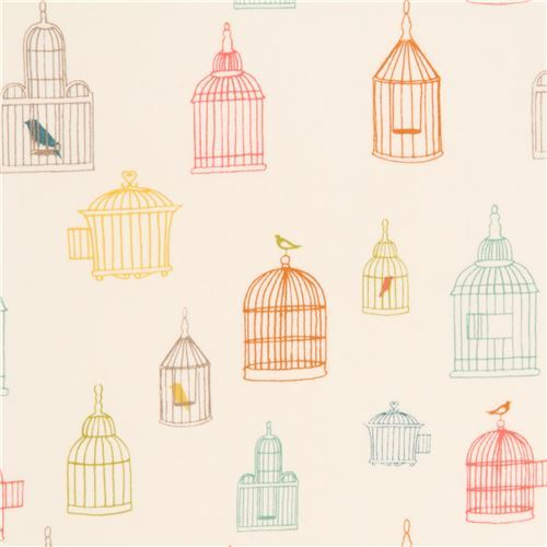 light cream colorful bird cage silhouette organic fabric by birch from the USA
