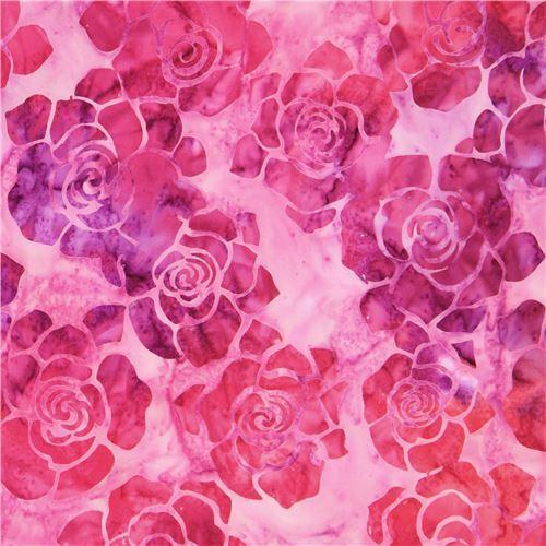 light purple Robert Kaufman coral flower tie dye Batik look fabric Splendid 4
