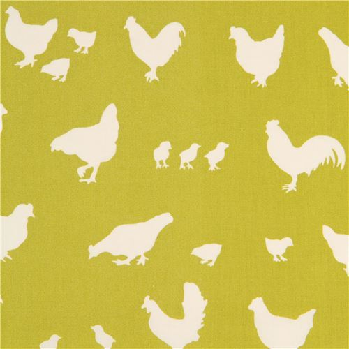 lime green light cream chicken silhouette organic fabric by birch from the USA