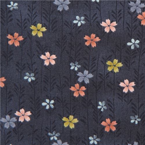 navy blue with colorful small Asia flower fabric by Andover Asami
