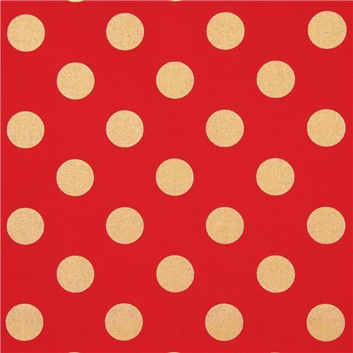 red Michael Miller fabric Quarter Dot with shiny gold dots
