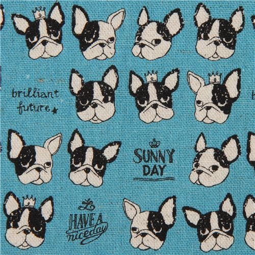 Kokka canvas fabric with French bulldogs