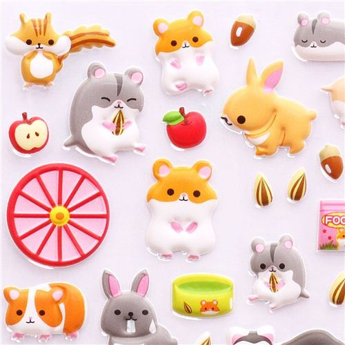 pet hamster rabbit hedgehog 3D sponge sticker book set