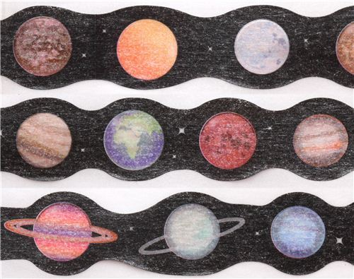 die-cut black planet star galaxy Masking Tape deco tape from Japan