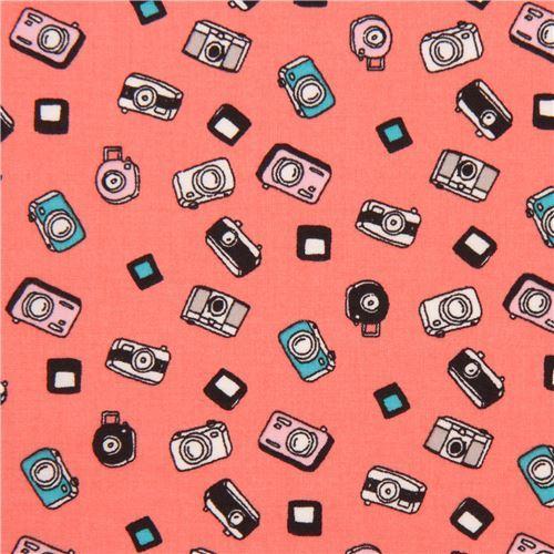 salmon pink cute small camera Lawn fabric
