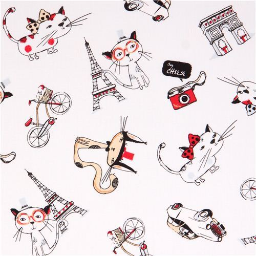 white Paris cat fabric by Timeless Treasures