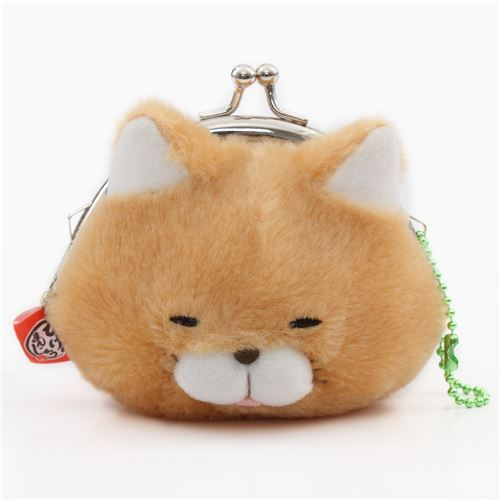 soft funny light brown cat plush Manjyu purse wallet from Japan