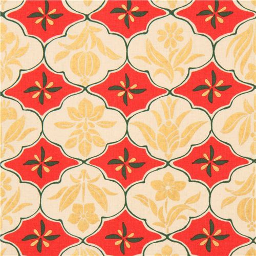 cream red flower ornament design fabric with gold metallic from Japan
