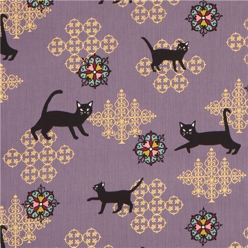 purple ornament design black fabric with gold metallic embellishment from Japan