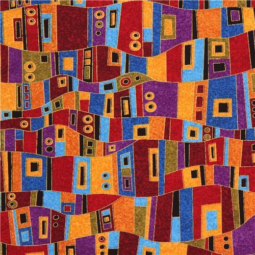 colorful fabric with rectangle square circle gold metallic by Timeless Treasures