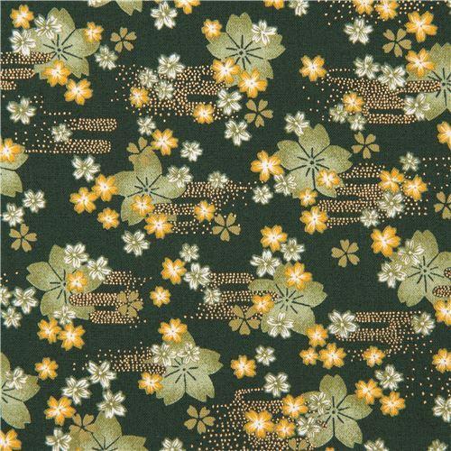 dark green cute green yellow flower gold metallic embellishment fabric
