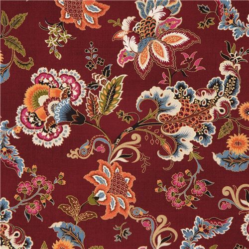 maroon fabric with colorful flower gold metallic by Timeless Treasures