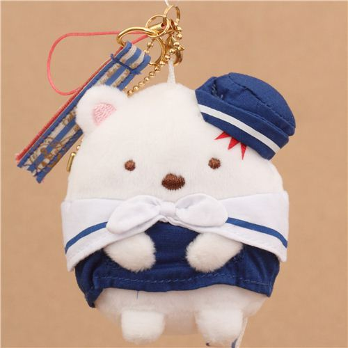cute white Sumikkogurashi sailor polar bear plush charm from Japan
