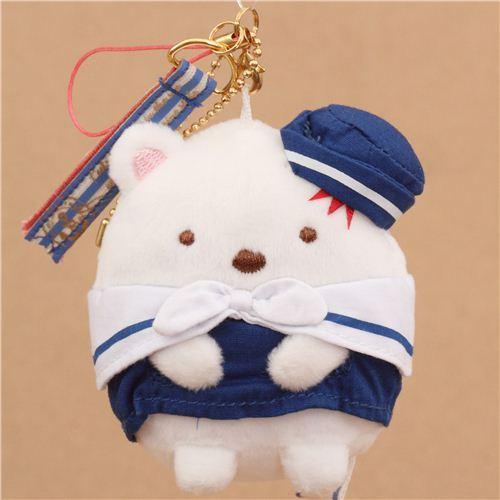 cute white Sumikkogurashi sailor polar bear plush charm from Japan