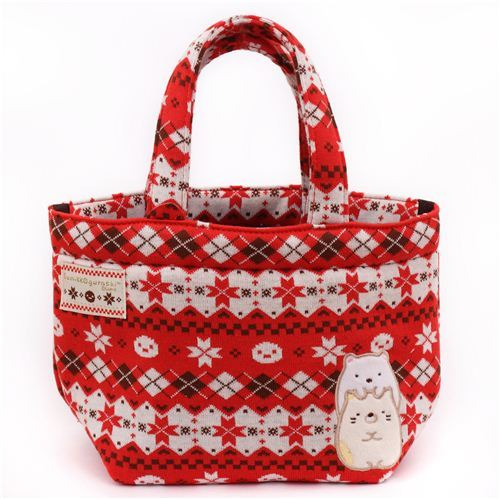 red Norwegian Christmas San-X Sumikkogurashi shy animals handbag
