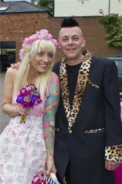 Ellas super unique wedding dress made with our smitten kitten fabric
