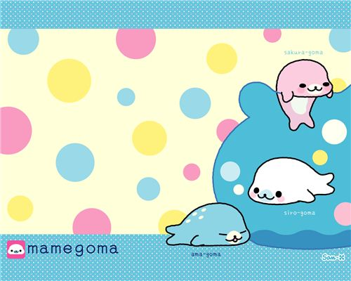 A colourful Mamegoma baby seal wallpaper