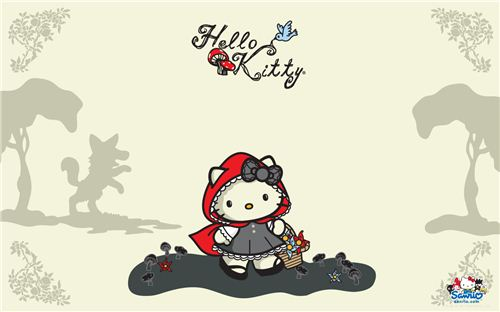 Kawaii Little Red Riding Hood Hello Kitty wallpaper