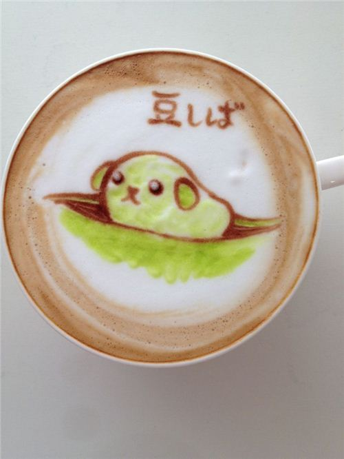 Pretty elaborate: Mameshiba coffee art by Nowtoo on onotakumode.com