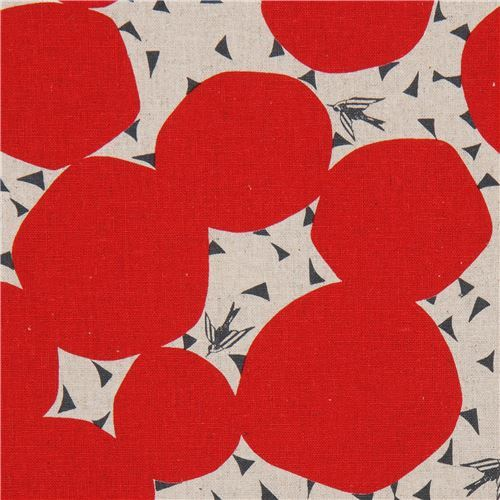 natural color echino canvas fabric with red circle shape Bubble