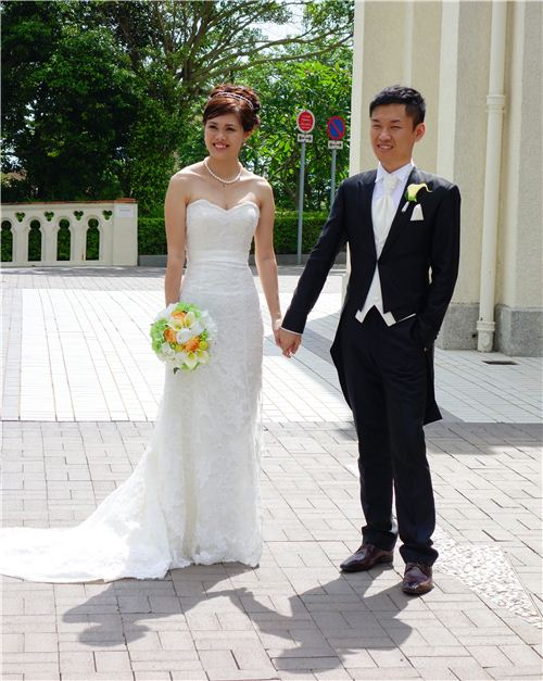 The beautiful bride and groom on their wedding day