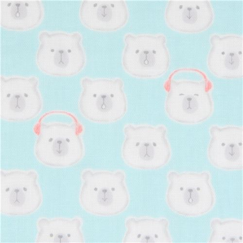 light blue double gauze fabric bear animal from Japan